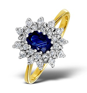 18K Gold Diamond and Sapphire Ring 0.36ct