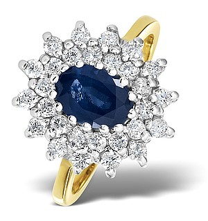 9K Gold DIAMOND AND SAPPHIRE RING 0.56CT