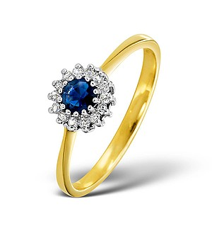 18K Gold Diamond and Sapphire Ring 0.07ct