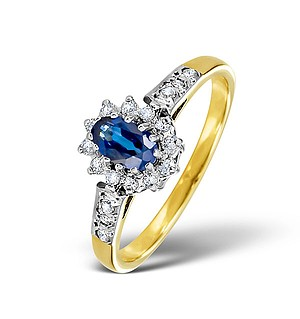 9K Gold DIAMOND AND SAPPHIRE RING 0.14CT