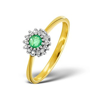 9K Gold DIAMOND AND EMERALD RING 0.07CT