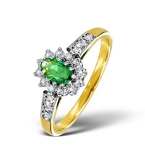 9K Gold DIAMOND AND EMERALD RING 0.14CT