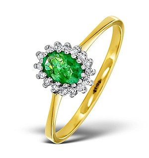 18K Gold Diamond and EMERALD Ring 0.08ct