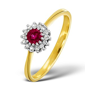 9K Gold DIAMOND AND RUBY RING 0.07CT