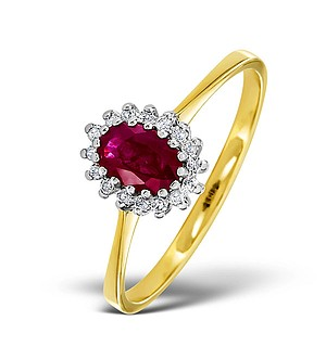 18K Gold Diamond and Ruby Ring 0.08ct