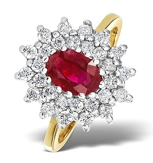 9K Gold DIAMOND AND RUBY RING 0.56CT