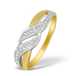 9K Gold Diamond Wave Ring - A3875