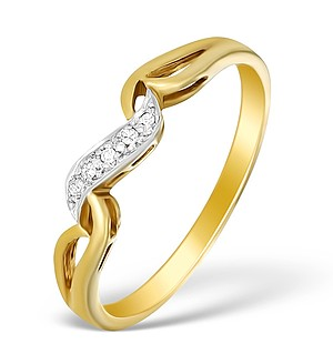 9K Gold Diamond Wave Ring - A3876