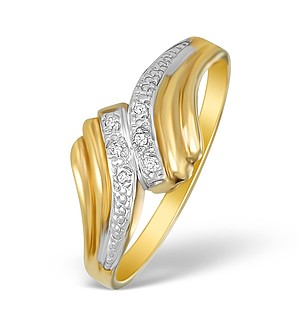 9K Gold Diamond Pave Design Ring - A3879