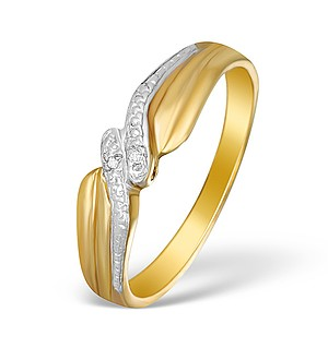 9K Gold Diamond Pave Design Ring - A3870