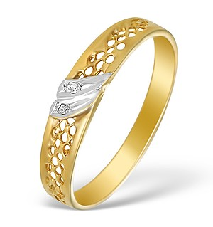 9K Gold Diamond Pave Design Ring - A3883