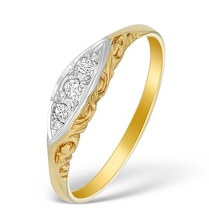 9K Gold Diamond Pave Design Ring - A3884