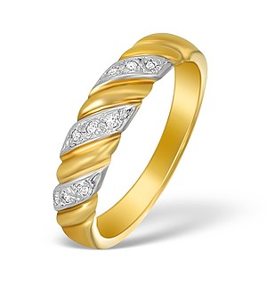 9K Gold Diamond Pave Design Ring - A3885