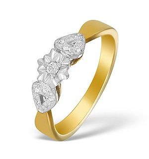 9K Gold Diamond Cluster Ring - A3889