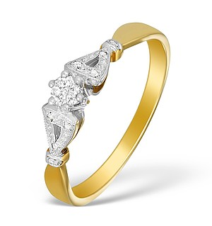 9K Gold Diamond Solitaire Ring with Shoulder Detail - A3881