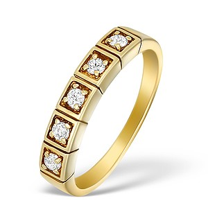 9K Gold Diamond 5 Stone Ring - A3892