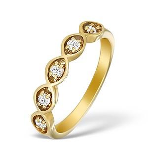 9K Gold Diamond 5 Stone Ring - A3895