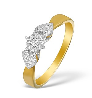 9K Gold Diamond Solitaire Ring with Shoulder Detail - A3897
