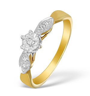 9K Gold Diamond Solitaire Ring with Shoulder Detail - A3898