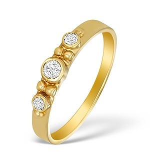 9K Gold Diamond Three Stone Ring - A3890