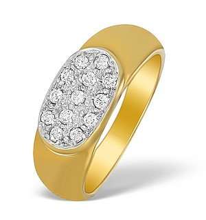 9K Gold Diamond Pave Style Ring - A3803