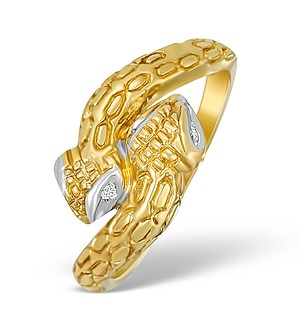 9K Gold Diamond Snake Design Ring - A3807