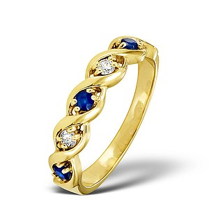 9K Gold DIAMOND AND SAPPHIRE RING 0.08CT