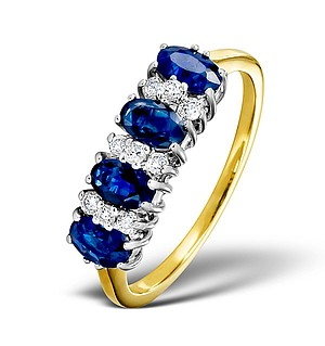 18K Gold Diamond and Sapphire Ring 0.14ct