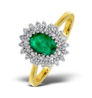 9K Gold DIAMOND AND EMERALD RING 0.30CT
