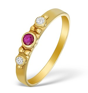 9K Gold Diamond and Ruby 3 Stone Ring - A3973