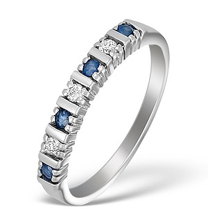 9K White Gold Diamond and Sapphire Half Eternity Ring - A3036