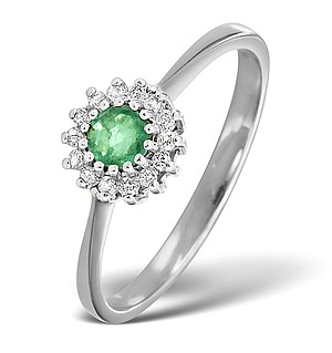 18K White Gold Diamond and Emerald Ring 0.07ct