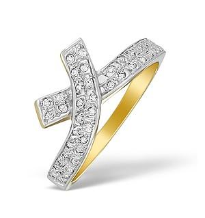 9K Gold Diamond Pave Cross Design Ring - A4254