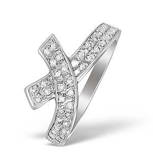 9K White Gold Diamond Pave Cross Design Ring - A4255