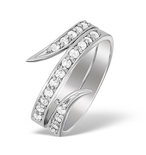 9K White Gold Fancy Diamond Set Ring - A4259