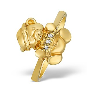 9K Gold Diamond Set Teddy Bear Ring - A4264