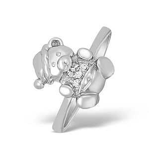 9K White Gold Diamond Set Teddy Bear Ring - A4265