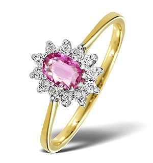 9K Gold DIAMOND AND PINK SAPPHIRE RING 0.18CT