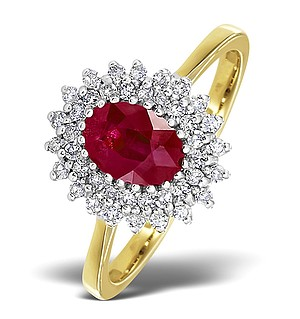 18K Gold Diamond and Ruby Ring 0.30ct