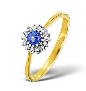 9K Gold DIAMOND AND TANZANITE RING 0.07CT