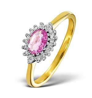 18K Gold Diamond and Pink Sapphire Ring 0.14ct
