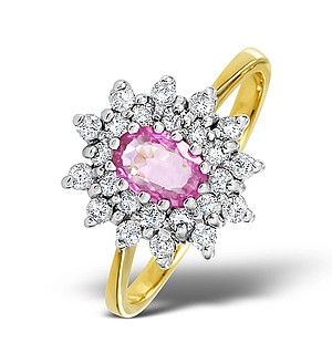 9K Gold DIAMOND AND PINK SAPPHIRE RING 0.36CT