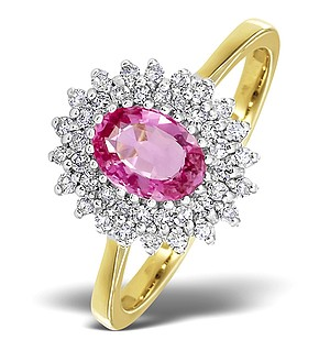 18K Gold Diamond and Pink Sapphire Ring 0.30ct