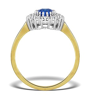 9K Gold DIAMOND AND TANZANITE RING 0.30CT
