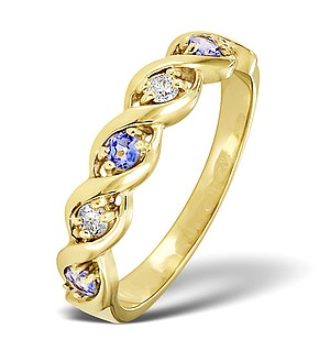 9K Gold DIAMOND AND TANZANITE RING 0.08CT