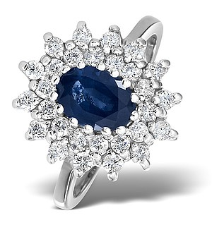 9K White Gold DIAMOND AND SAPPHIRE RING 0.56CT