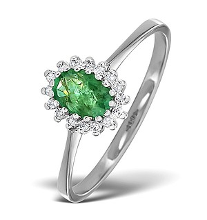 9K White Gold DIAMOND AND EMERALD RING 0.08CT