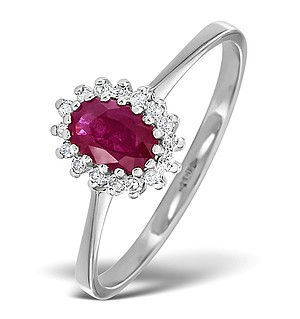 9K White Gold DIAMOND AND RUBY RING 0.08CT