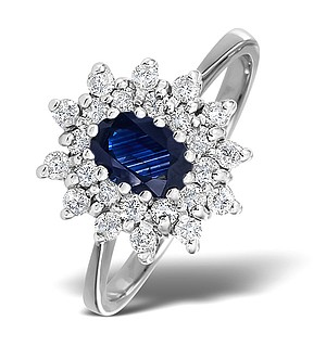 18K White Gold Diamond and Sapphire Ring 0.36ct