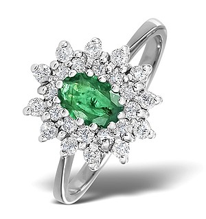 9K White Gold DIAMOND AND EMERALD RING 0.36CT
